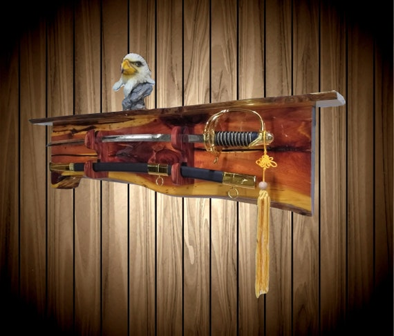 Rustic Cedar Sword Display Rack, Wall Shelf, Military Saber Katana, Custom Blade and Sheath Hangers, Man Cave Cabin Decor Gift