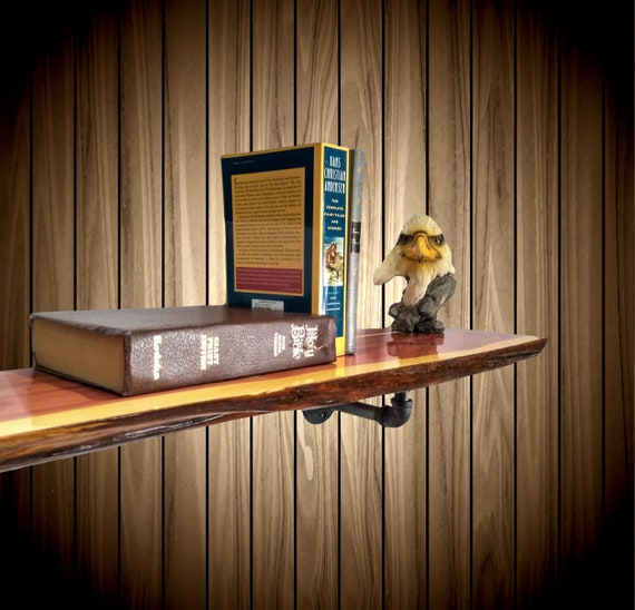 Live Edge Knotty Cedar Pipe Shelf, Home, Cabin, Industrial Decor, Handcrafted Gift, FREE SHIPPING