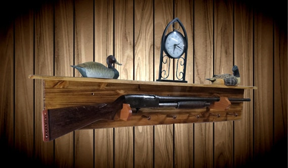 Traditional Wood Gun Rack with Shelf 6 Peg Hat Coat Shotgun Muzzle Loader Display Gift