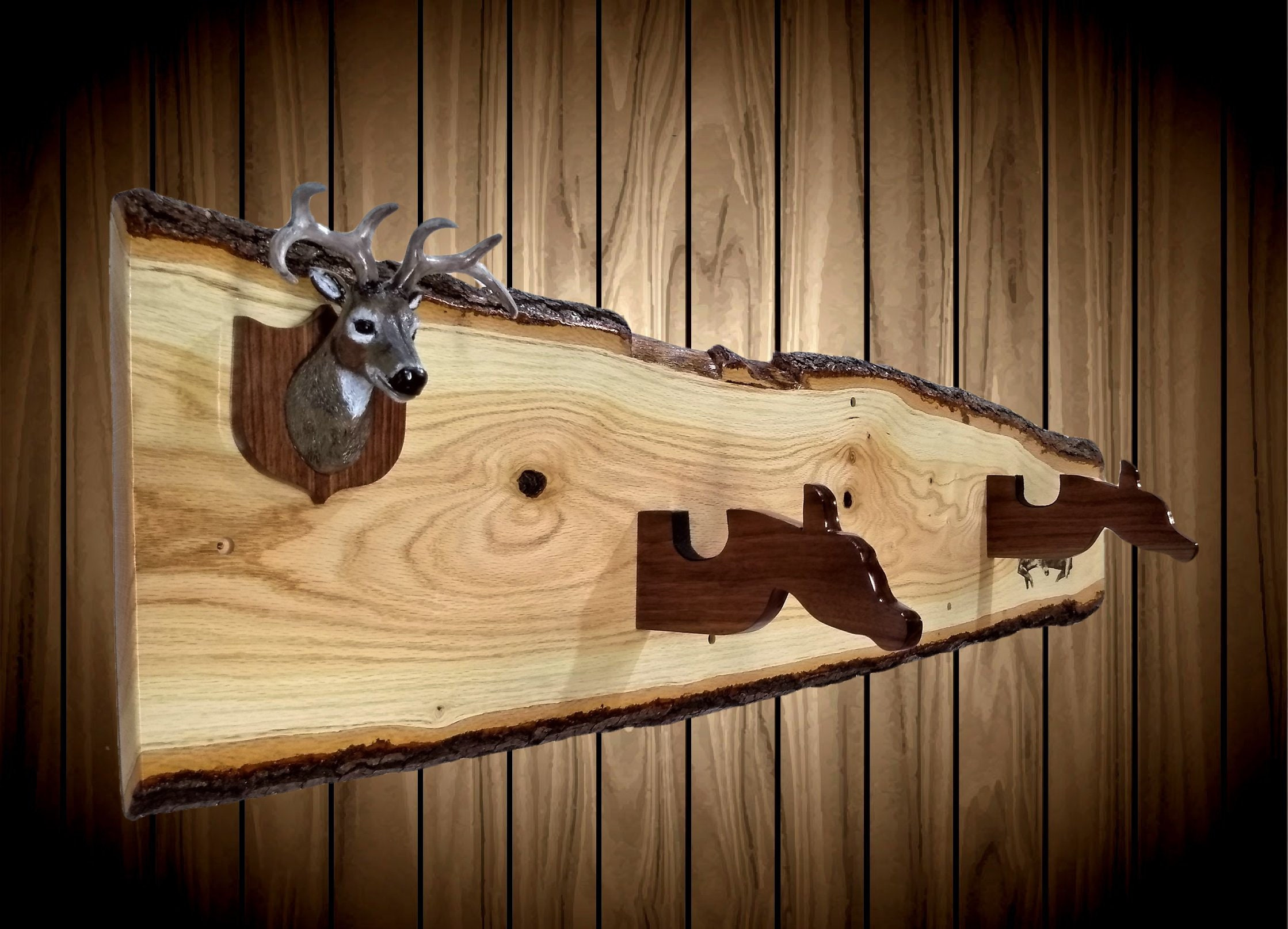 Live Edge Oak Gun Rack Mini Buck Mount Walnut Hangers