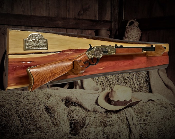 Rustic Cedar Winchester Gun Rack Lever Action Rifle Display Wall Mount Western Décor Gift Free Shipping!
