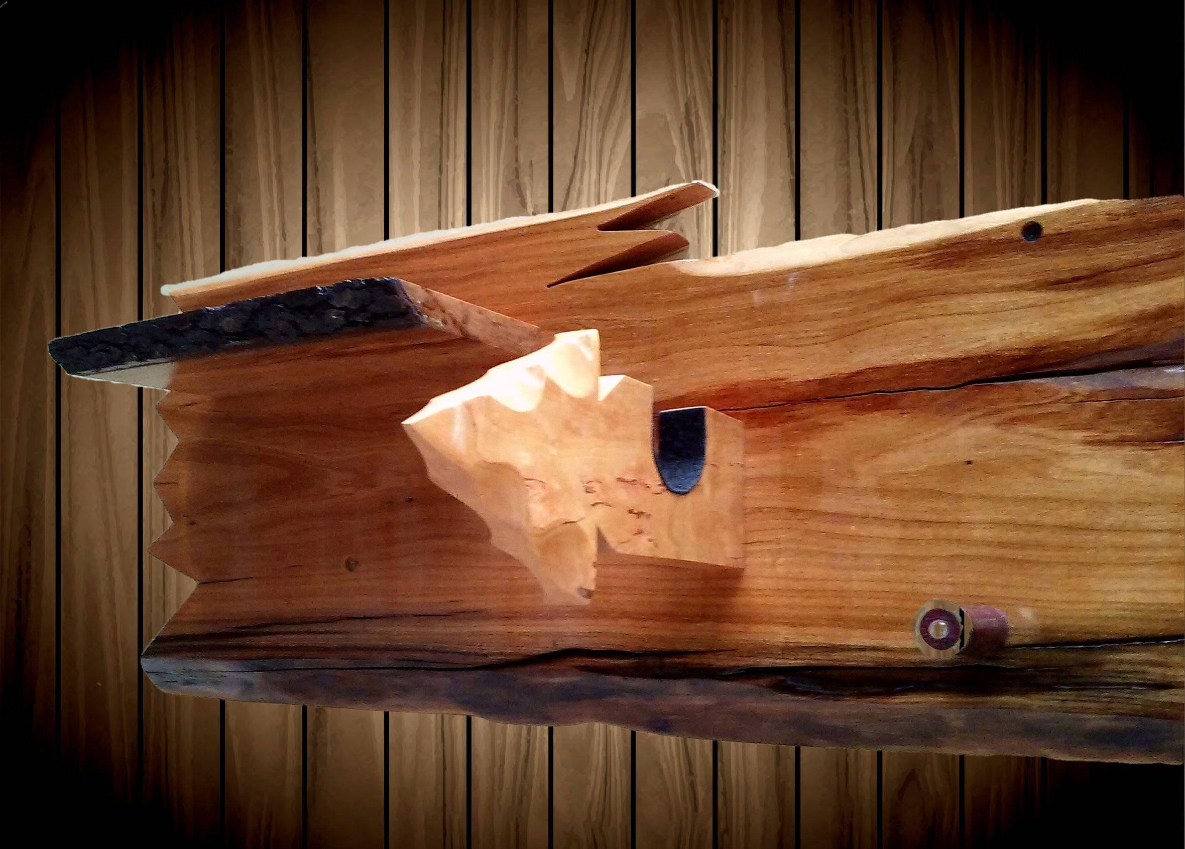 Rustic Live Edge Cherry Wood Wall Gun Rack Shelf Shotgun