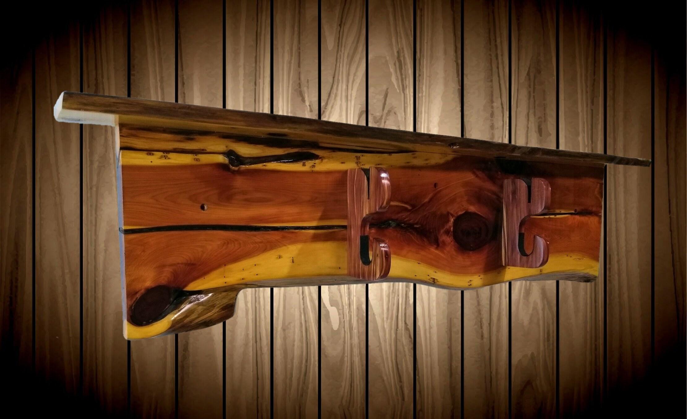Rustic Cedar Sword Display Rack Wall Shelf Military