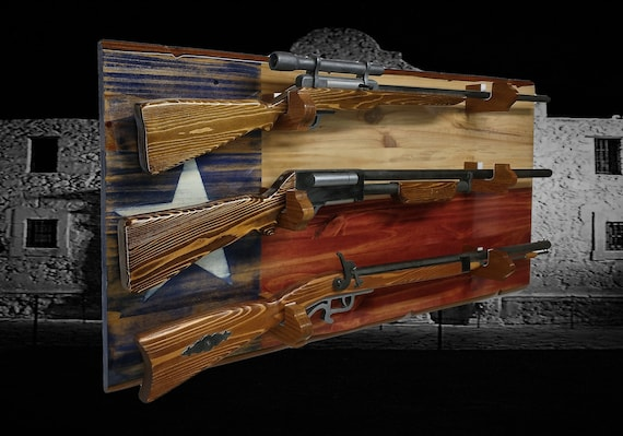 Rustic Texas 3 Place Flag Gun Rack Knotty Pine Rifle Shotgun Patriotic Lone Star Décor Gift, FREE SHIPPING