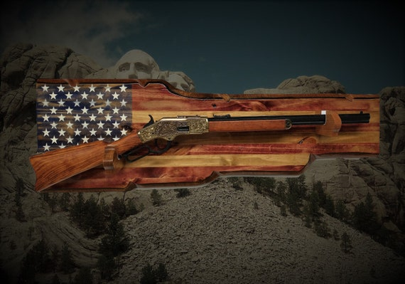 Rustic Americana Gun Rack Lever Action Henry Winchester Rifle Display Patriotic Décor Gift, FREE SHIPPING