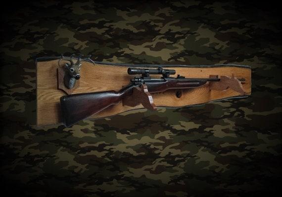 Rustic Deer Hunter Gun Rack Live Edge Oak Wall Mount Shotgun Rifle Home Cabin Decor Fathers Day Gift, Free Shipping