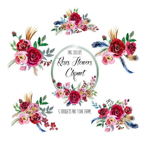 Clipart Boeket Fleurs Mariage Rozen Bloemen Clipart Voor Etsy