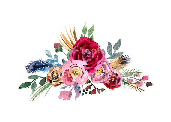 Watercolor Bouquet Of Red And Pink Flowers Wedding Clipart Etsy