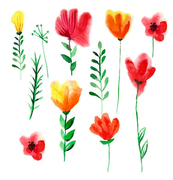 Watercolor spring flowers clipart digital floral clipart etsy 50 mightylinksfo