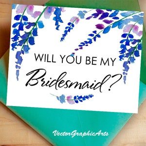 Wedding Card Instant Download Printable Will You Be My Bridesmaid Card with Blue Flowers Greeting Card Instant Download Greeting Card
