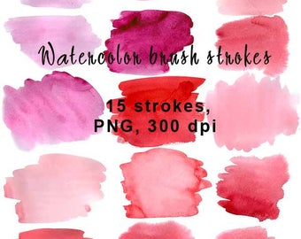 Pink and purple colored strokes. Digital Watercolor Clip Art. Scrapbooking.  Set of 15, Png - file, 300 dpi. Discount coupons