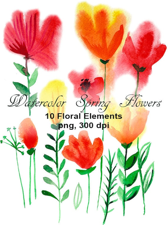 Watercolor Spring Flowers Clipart Digital Floral Clipart Etsy