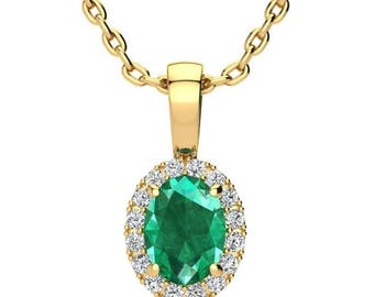 10K GOLD 1 CARAT OVAL EMERALD AND HALO DIAMOND EARRINGS IN 3 GOLD COLORS
