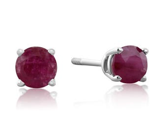 0.60ct Ruby Stud Earrings in 14k White OR Yellow Gold