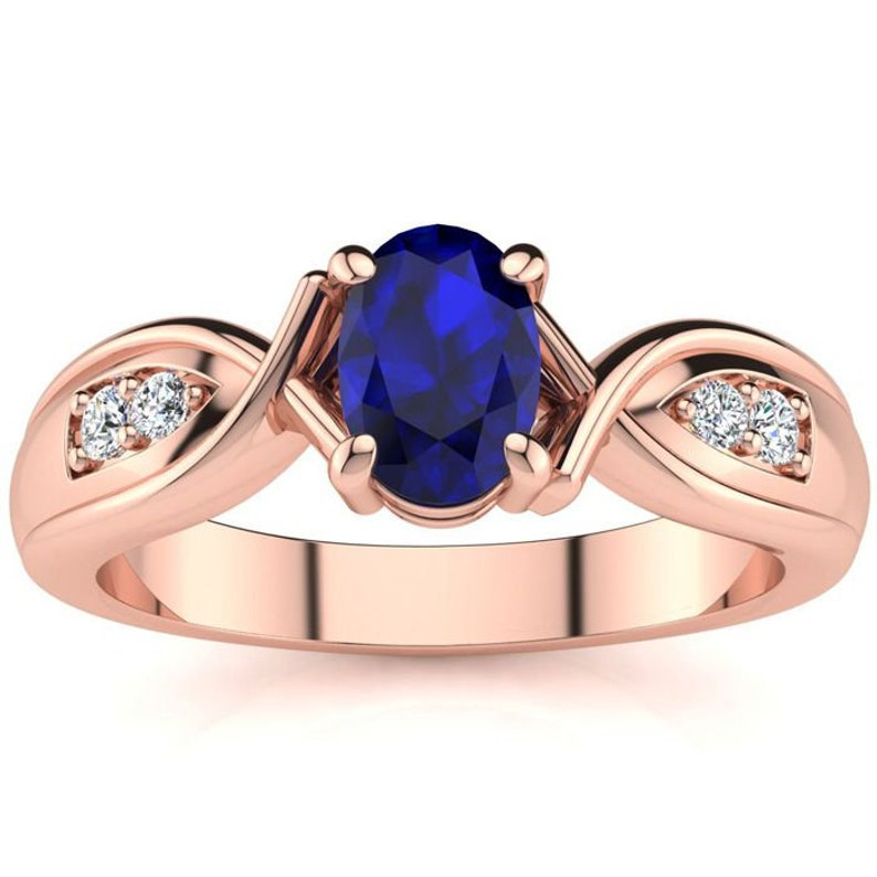 10K Rose Gold Diamond Ring with 1.08 Ct Oval Blue Sapphire