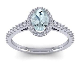 14K White Gold 1 CT Oval Aquamarine and Diamond Halo Ring