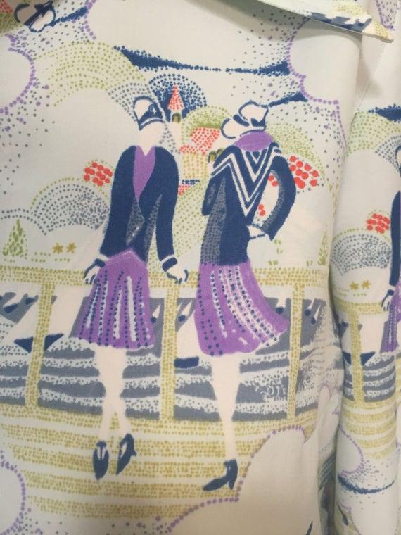 Lady print 1970s blouse