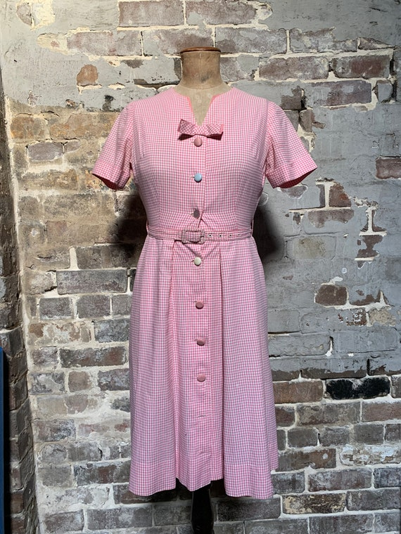 Pink Gingham 1950s button front dress