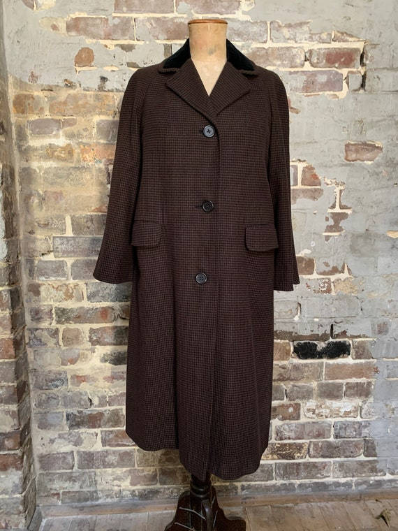 1950s Aquascutum coat, houndstooth black/brown, wo