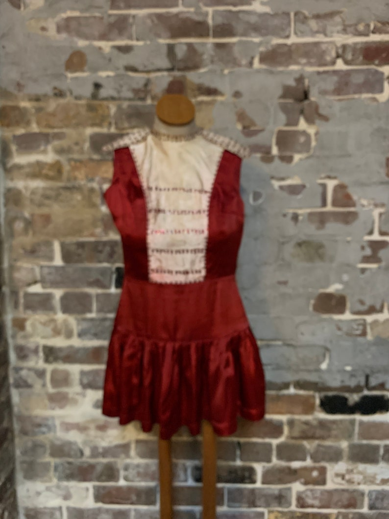 stage 1950s early Burgundy silk rayon dancing performance dress skater