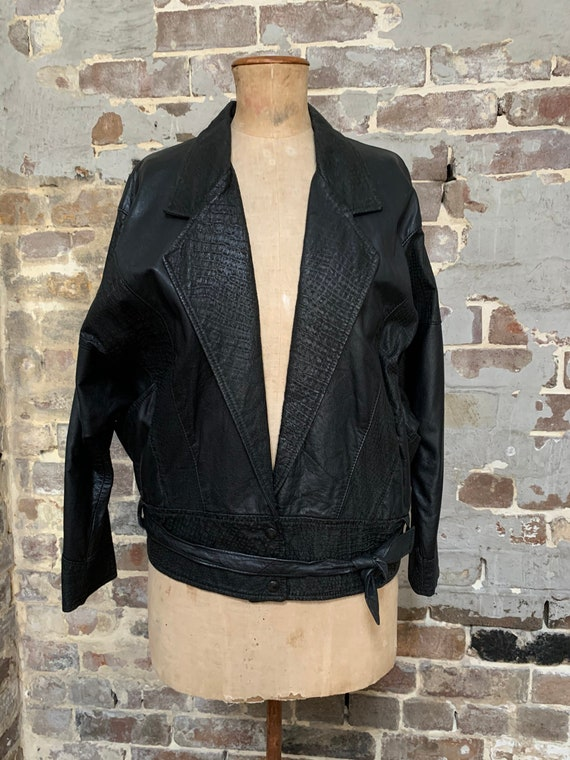 1980s black leather unisex jacket, boxy, big, dolm