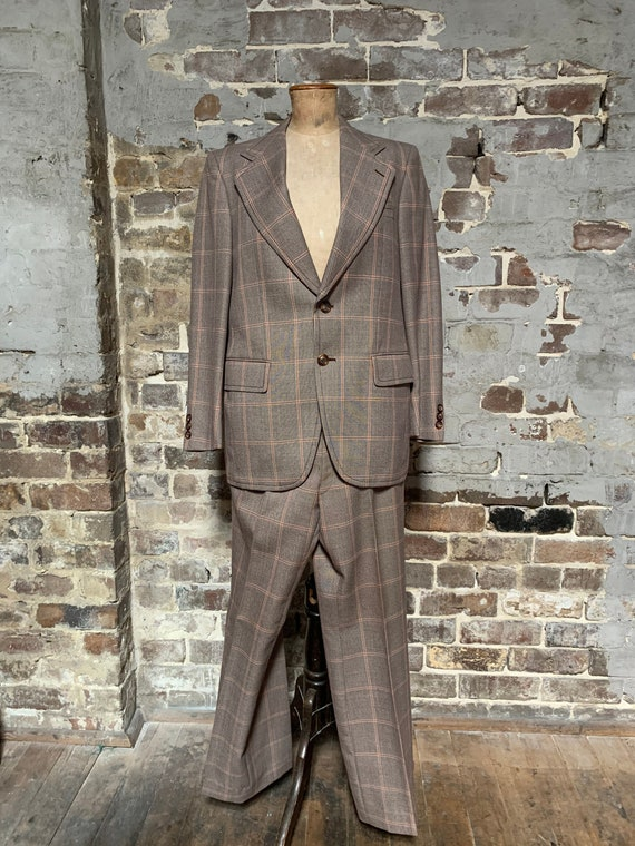 "1970s two piece suit, brown orange check, 40""/38"""