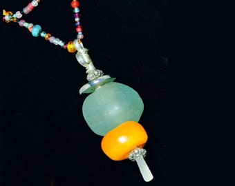 Enormous Mint Green African Bead and Medium Amber Bead Necklace (Handcrafted)