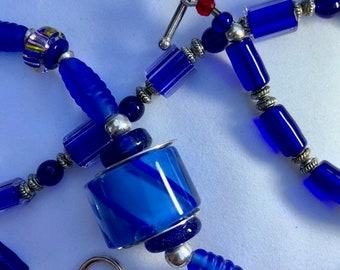 Blue Focal Glass Bead Necklace Handcrafted