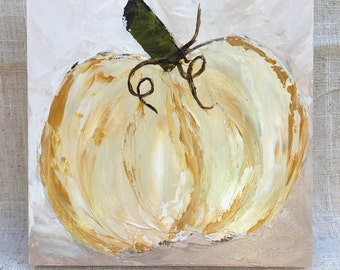 Fall Pumpkin painted on 6x6 wood panel.