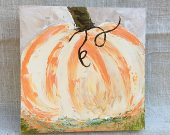 Pumpkin Painting on 6x6 Wood Panel