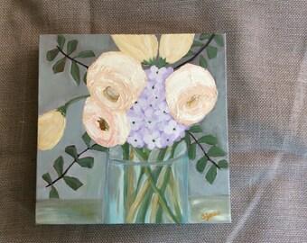 Peonies and Hydrangea Flower Painting