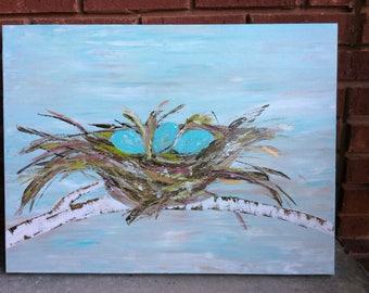 Original Bird Nest Painting