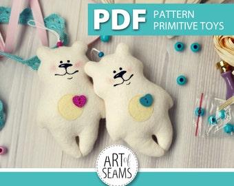 Bear primitive toy, PDF pattern, toy made of felt, Animal, Digital, Handmade, Craft