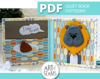 Quiet book patterns, PDF pattern, animal story: rabbit, bunny, cat, dog, mouse, sheep, lion, deer. Made of felt, Digital, Handmade, Craft