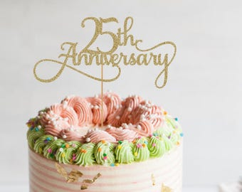 Anniversary Cake Topper 25th Party Decorations Glitter