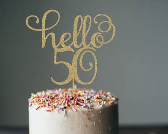 Hello 50 Cake Topper 50th Birthday Decorations Party