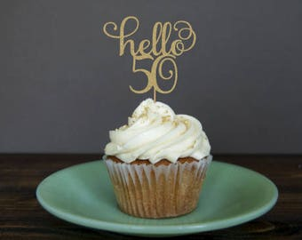 Hello 50 cupcake toppers, 50th birthday cupcake toppers, 50th cupcake toppers, 50th birthday decorations, 50th birthday party