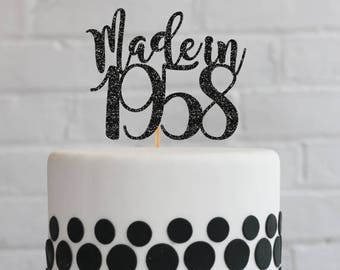 60th Birthday Cake Topper Decorations Vintage 1958 Party