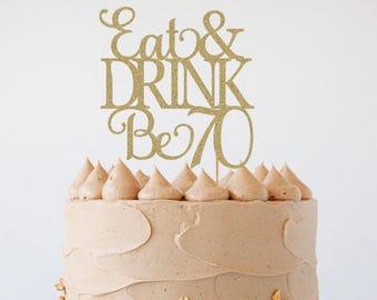 70th birthday cake topper, 70th birthday decorations, 70th birthday, 70th cake topper, glitter cake topper, 70th birthday supplies