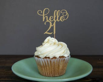 Hello 21 cupcake toppers, 21st birthday cupcake toppers, 21st cupcake toppers, 21st birthday decorations, 21st birthday party