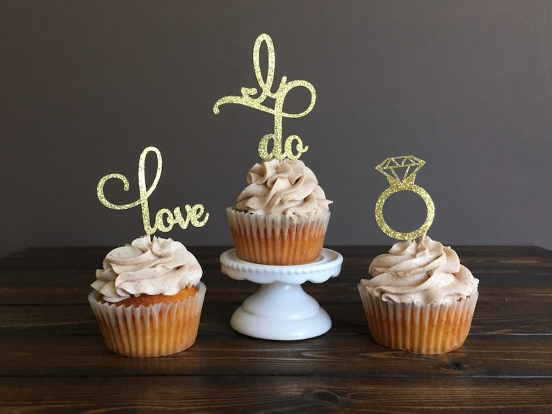 Engagement cupcake toppers bridal shower cupcake toppers image 0