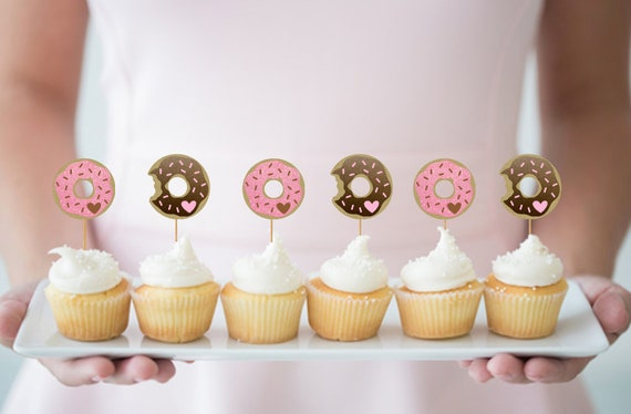 Donut Cupcake Toppers Donut Party Birthday Decorations Etsy