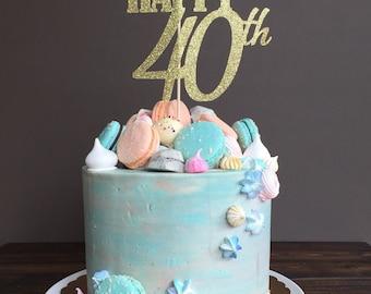 Cake topper - forty cake topper, 40th birthday cake topper, 40th birthday decorations, 40th birthday party, 40th birthday decorations