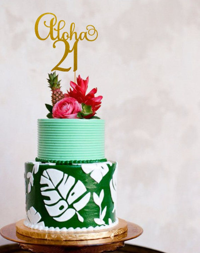 Aloha 21 Birthday Cake Topper 21st