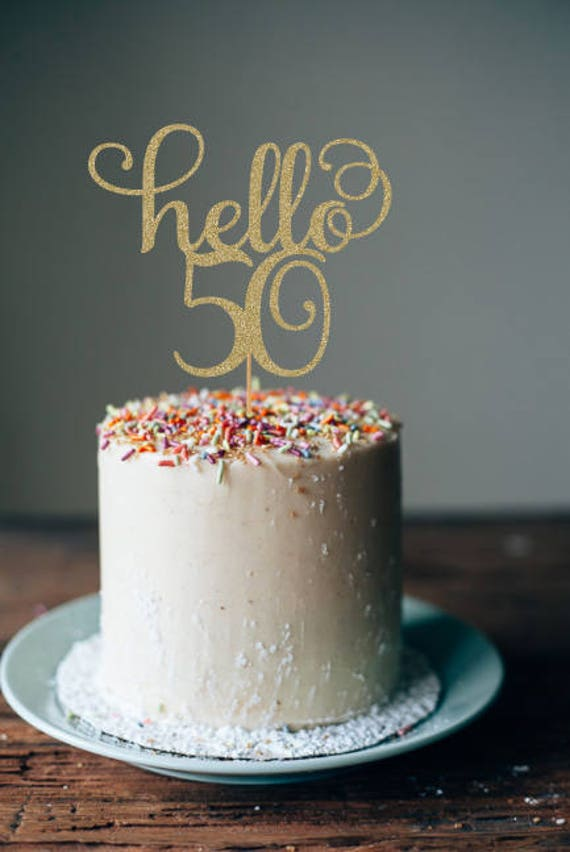 Hello 50 Cake Topper 50th Birthday Decorations
