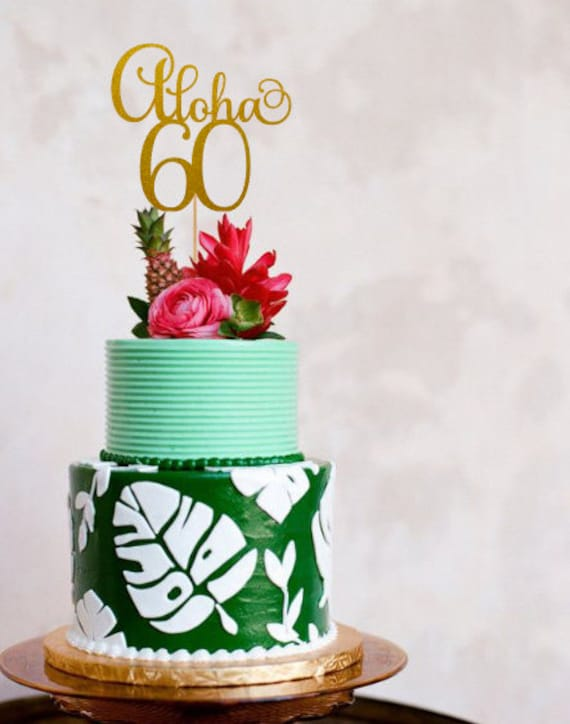 Aloha 60 Cake Topper 60th Birthday Decorations