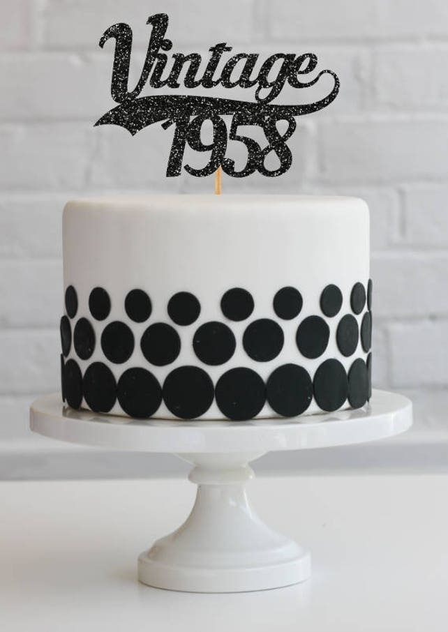 60th Birthday Cake Topper Decorations Vintage 1958