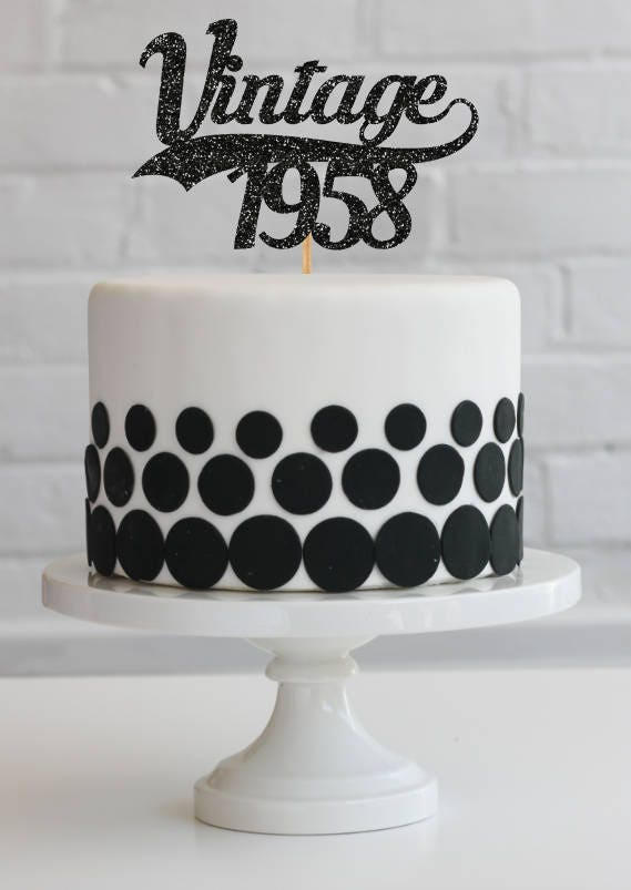 60th Birthday Cake Topper 60th Birthday Decorations Vintage Etsy