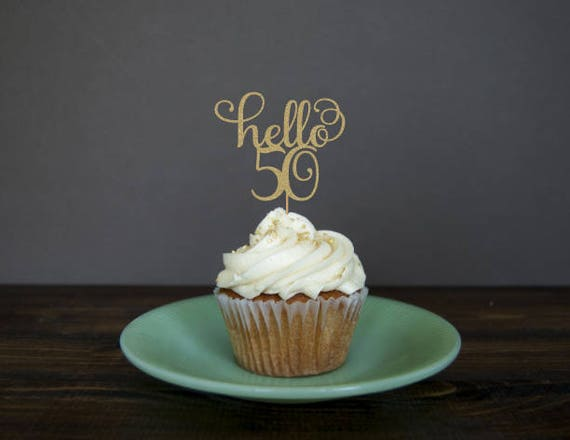 Hello 50 Cupcake Toppers 50th Birthday Decorations Party