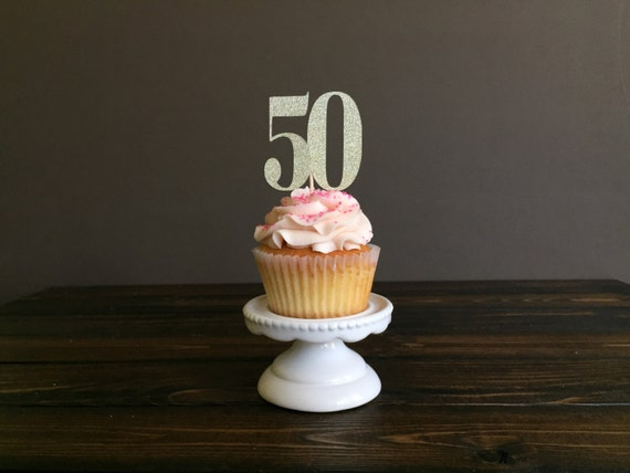 50th Cupcake Toppers Birthday Decorations Fifty